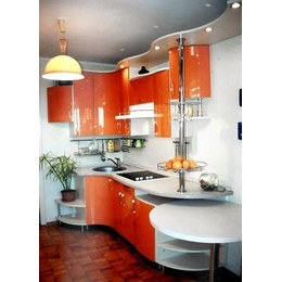 Кухня МДФ крашенный глянцевый оранжевый