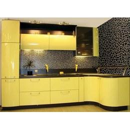 Кухня МДФ крашенный глянцевый желтый