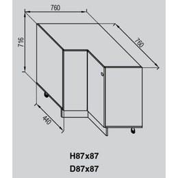 Кухонный модуль Валенсия Н 87×87 (870(760)-870(760)х440х716)