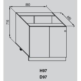 Кухонный модуль Валенсия Н 97 (970(860)х440х716)