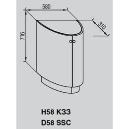 Кухонный модуль Валенсия Н 58КЗЗ (580х310х1016)