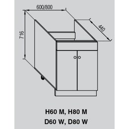 Кухонный модуль Валенсия под мойку Н 80М (800х440х816)