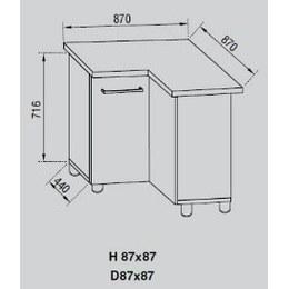 Кухонный модуль Адель Н 87х87 (870х870х716)