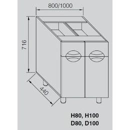 Кухонний модуль Адель Люкс Н 80 (800х440х716)