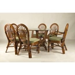 Обідній комплект Афіна (стіл +6 стільців) натуральний ротанг горіховий