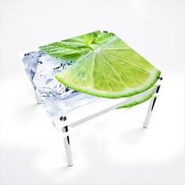 Стол обеденный Квадратный с проходящей полкой Ice lime