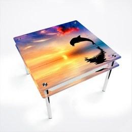 Стол обеденный Квадратный с проходящей полкой Ocean