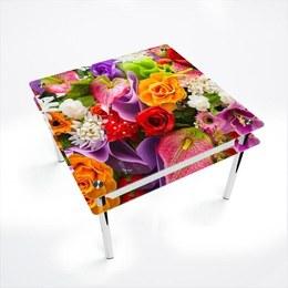 Стол обеденный Квадратный с проходящей полкой Flowers